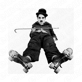 CHARLIE CHAPLIN SKATES TV T-SHIRT IRON-ON TRANSFER DECAL #TVCC5