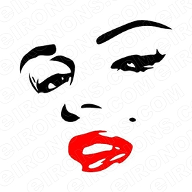 MARILYN MONROE FACE RED LIPS TV T-SHIRT IRON-ON TRANSFER DECAL #TVMMR2