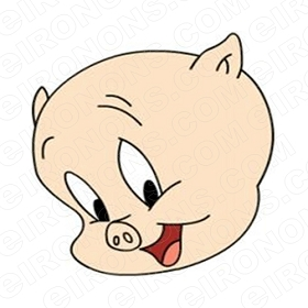 PORKY THE PIG BIG HEAD CHARACTER T-SHIRT IRON-ON TRANSFER DECAL #CPTP1