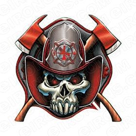 SKULL FIREMAN T-SHIRT IRON-ON TRANSFER DECAL #S25
