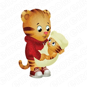 DANIEL TIGERS NEIGHBORHOOD DANIEL TIGER HOLDING BABY GROUP POSE 1 CHARACTER T-SHIRT IRON-ON TRANSFER DECAL #CDTN2