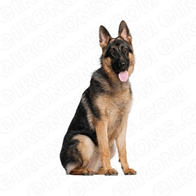 GERMAN SHEPHERD SITTING TONGUE OUT ANIMAL T-SHIRT IRON-ON TRANSFER DECAL #ADGS6