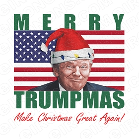 MERRY TRUMPMAS MAKE CHRISTMAS GREAT AGAIN! HOLIDAY T-SHIRT IRON-ON TRANSFER DECAL #HCDT1
