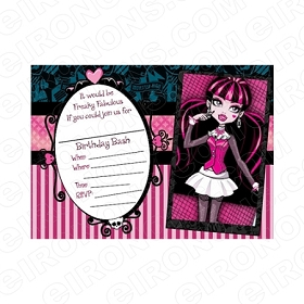 MONSTER HIGH BLANK EDITABLE INVITATION INSTANT DOWNLOAD #IMH3