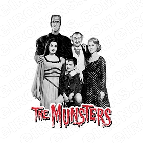 THE MUNSTERS GROUP POSE ON LOGO MOVIE TV T-SHIRT IRON-ON TRANSFER DECAL #TM4