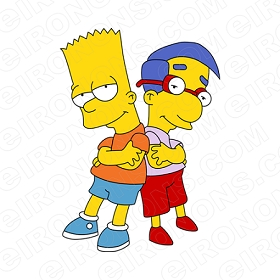 THE SIMPSONS BART AND MILHOUSE CHARACTER T-SHIRT IRON-ON TRANSFER DECAL #CTS1