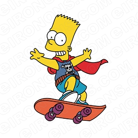 THE SIMPSONS BART ON SKATEBOARD CHARACTER T-SHIRT IRON-ON TRANSFER DECAL #CTS3