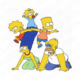 THE SIMPSONS GROUP POSE 2 CHARACTER T-SHIRT IRON-ON TRANSFER DECAL #CTS9