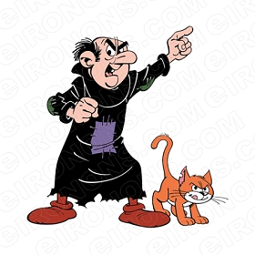 THE SMURFS GARGAMEL AND AZRAEL CHARACTER T-SHIRT IRON-ON TRANSFER DECAL #CTS3