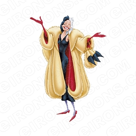 101 DALMATIANS CRUELLA DE VIL HANDS OUT CHARACTER CLIPART PNG IMAGE SCRAPBOOK INSTANT DOWNLOAD