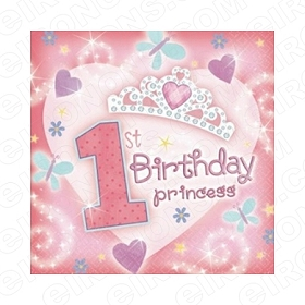 1ST BIRTHDAY PRINCESS T-SHIRT IRON-ON TRANSFER DECAL #BP4