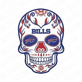 BUFFALO BILLS SKULL LOGO SPORTS NFL FOOTBALL T-SHIRT IRON-ON TRANSFER DECAL #SFBB6