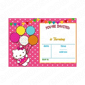 HELLO KITTY BLANK EDITABLE INVITATION INSTANT DOWNLOAD #IHK2