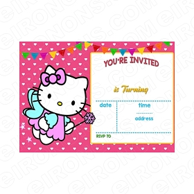 HELLO KITTY BLANK EDITABLE INVITATION INSTANT DOWNLOAD #IHK3