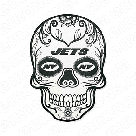 NEW YORK JETS SKULL LOGO SPORTS NFL FOOTBALL T-SHIRT IRON-ON TRANSFER DECAL #SFNYJ2
