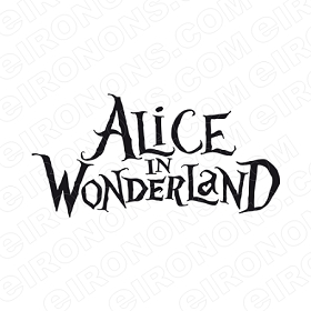 ALICE IN WONDERLAND LOGO BLACK CHARACTER T-SHIRT IRON-ON TRANSFER DECAL #CAIW4
