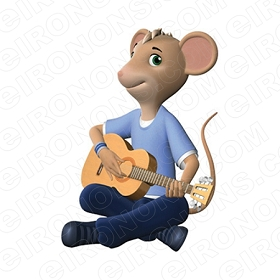 ANGELINA BALLERINA MARCO PLAYING GUITAR CHARACTER T-SHIRT IRON-ON TRANSFER DECAL #CAB7