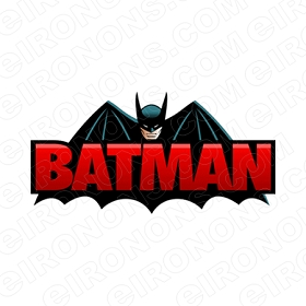 BATMAN LOGO BLACK AND RED COMIC T-SHIRT IRON-ON TRANSFER DECAL #CBM6