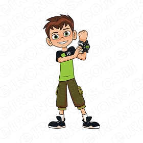 BEN 10 BEN ARM UP CHARACTER T-SHIRT IRON-ON TRANSFER DECAL #CB10 1