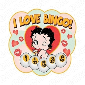 BETTY BOOP I LOVE BINGO! CHARACTER T-SHIRT IRON-ON TRANSFER DECAL #CBB12