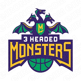 3 HEADED MONSTERS PRIMARY LOGO 2017-PRESENT SPORTS BIG3 BASKETBALL T-SHIRT IRON-ON TRANSFER DECAL #SBB3HM