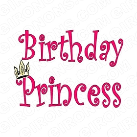 BIRTHDAY PRINCESS T-SHIRT IRON-ON TRANSFER DECAL #BP1