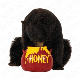 BLACK BEAR EATTING HONEY ANIMAL BEAR T-SHIRT IRON-ON TRANSFER DECAL #ABLB1