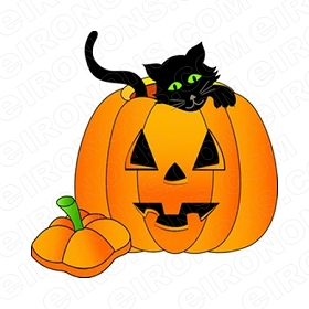 BLACK CAT IN PUMPKIN HALLOWEEN T-SHIRT IRON-ON TRANSFER DECAL #HH2