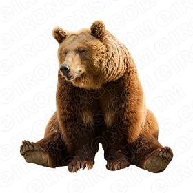 BROWN BEAR SITTING ANIMAL BEAR T-SHIRT IRON-ON TRANSFER DECAL #ABB3