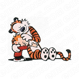 CALVIN AND HOBBES HUGGING EACH OTHER CHARACTER T-SHIRT IRON-ON TRANSFER DECAL #CCAH7