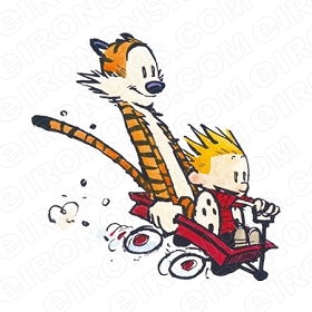 CALVIN AND HOBBES IN WAGON CHARACTER T-SHIRT IRON-ON TRANSFER DECAL #CCAH8