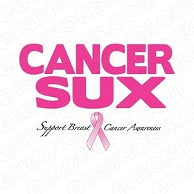 CANCER SUX BREAST CANCER T-SHIRT IRON-ON TRANSFER DECAL #BC8
