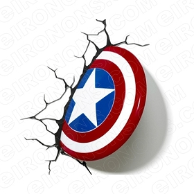 CAPTAIN AMERICA SHIELD 3D COMIC T-SHIRT IRON-ON TRANSFER DECAL #CCA3