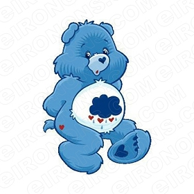 CARE BEARS GRUMPY BEAR SITTING CHARACTER T-SHIRT IRON-ON TRANSFER DECAL #CCB5