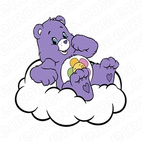 CARE BEARS HARMONY BEAR IN CLOUD CHARACTER T-SHIRT IRON-ON TRANSFER DECAL #CCB6