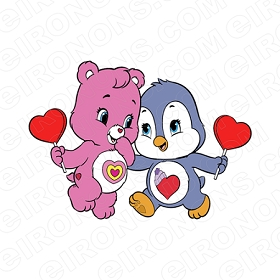 CARE BEARS WONDERHEART BEAR AND PENGUIN CHARACTER T-SHIRT IRON-ON TRANSFER DECAL #CCB12