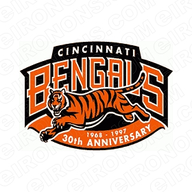 CINCINNATI BENGALS ANNIVERSARY LOGO 1968-1997 SPORTS NFL FOOTBALL T-SHIRT IRON-ON TRANSFER DECAL #SFBCB4