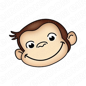 CURIOUS GEORGE BIG HEAD CHARACTER T-SHIRT IRON-ON TRANSFER DECAL #CCG9