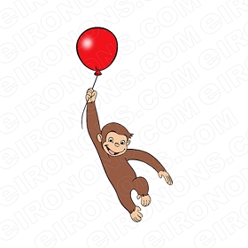CURIOUS GEORGE HOLDING BALLOON CHARACTER CLIPART PNG IMAGE SCRAPBOOK INSTANT DOWNLOAD