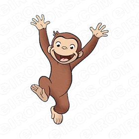 CURIOUS GEORGE JUMPING CHARACTER CLIPART PNG IMAGE SCRAPBOOK INSTANT DOWNLOAD