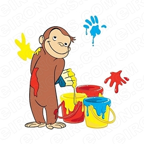 CURIOUS GEORGE PAINTING CHARACTER T-SHIRT IRON-ON TRANSFER DECAL #CCG6