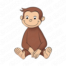 CURIOUS GEORGE SITTING CHARACTER CLIPART PNG IMAGE SCRAPBOOK INSTANT DOWNLOAD