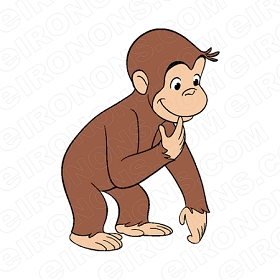 CURIOUS GEORGE THINKING CHARACTER CLIPART PNG IMAGE SCRAPBOOK INSTANT DOWNLOAD
