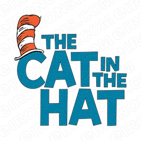 DR SEUSS THE CAT IN THE HAT LOGO CHARACTER T-SHIRT IRON-ON TRANSFER DECAL #CDS2