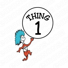 DR SEUSS THING 1 CHARACTER T-SHIRT IRON-ON TRANSFER DECAL #CDS3