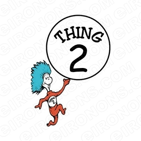 DR SEUSS THING 2 CHARACTER T-SHIRT IRON-ON TRANSFER DECAL #CDS4