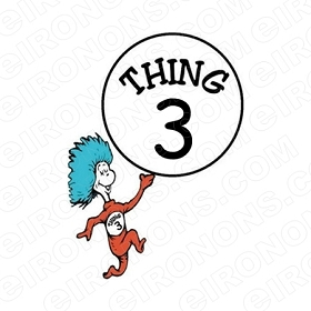 DR SEUSS THING 3 CHARACTER T-SHIRT IRON-ON TRANSFER DECAL #CDS5