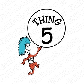 DR SEUSS THING 5 CHARACTER T-SHIRT IRON-ON TRANSFER DECAL #CDS7