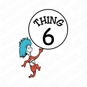 DR SEUSS THING 6 CHARACTER T-SHIRT IRON-ON TRANSFER DECAL #CDS8