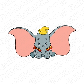 DUMBO FRONT VIEW CHARACTER T-SHIRT IRON-ON TRANSFER DECAL #CD3